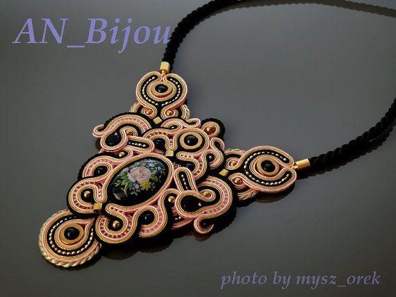 Pink gold black Soutache Necklace. by ANBijou on Etsy