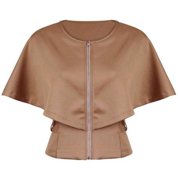 Yoins Yoins Cape Sleeve Blazer (€24) ❤ liked on Polyvore featuring outerwear, jackets, blazers, tops, coats, capes & ponchos, khaki, khaki jacket, beige blazer and poncho cape coat