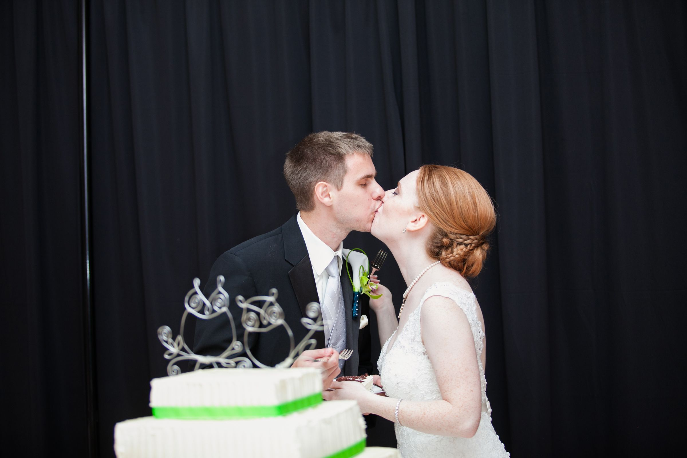cutting the cake with owl cake toppers.  Sidenote, my AMAZING sister-in-law made that gorgeous cake.