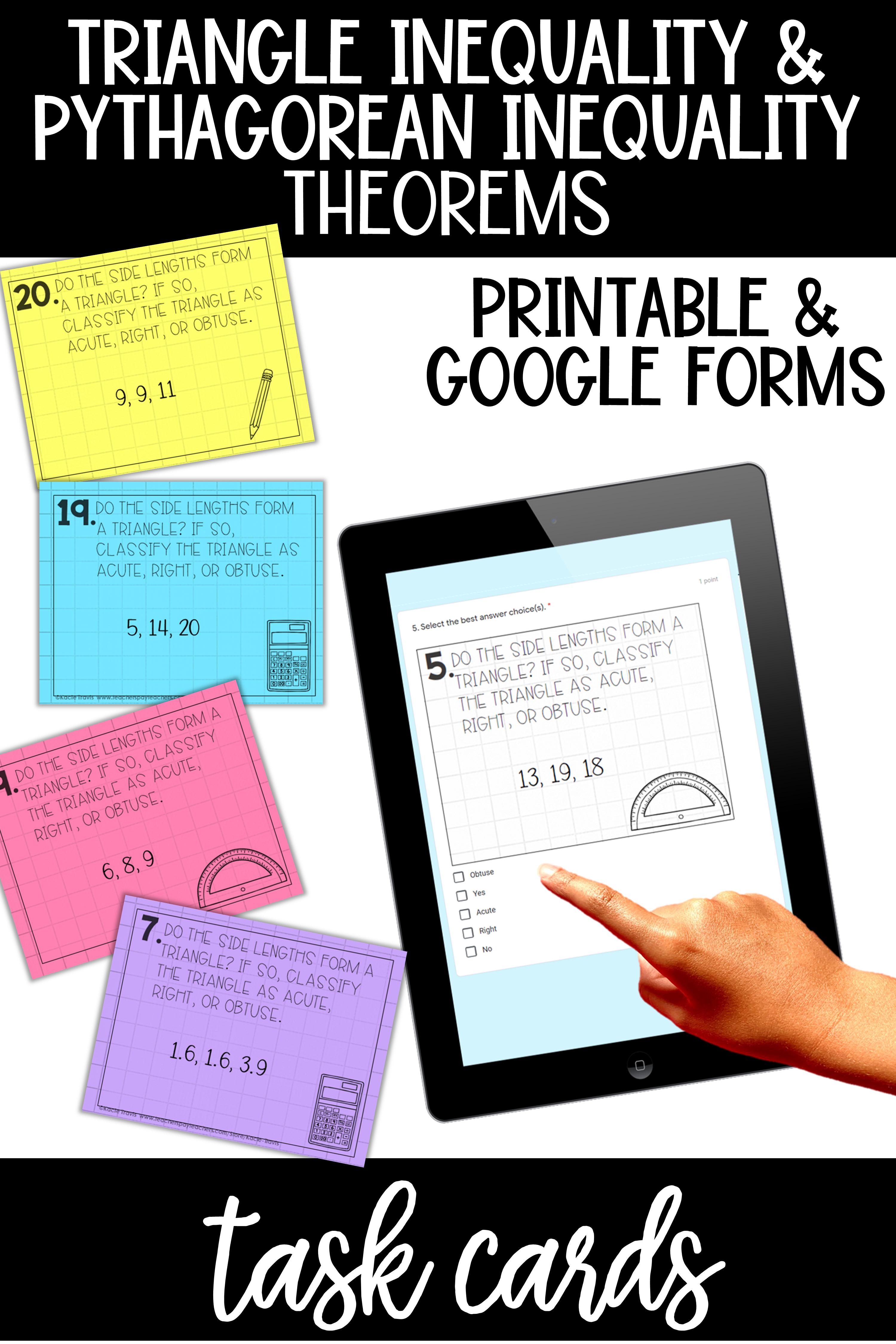 Triangle Theorem Task Cards Print Digital Triangle Inequality Task Cards Theorems