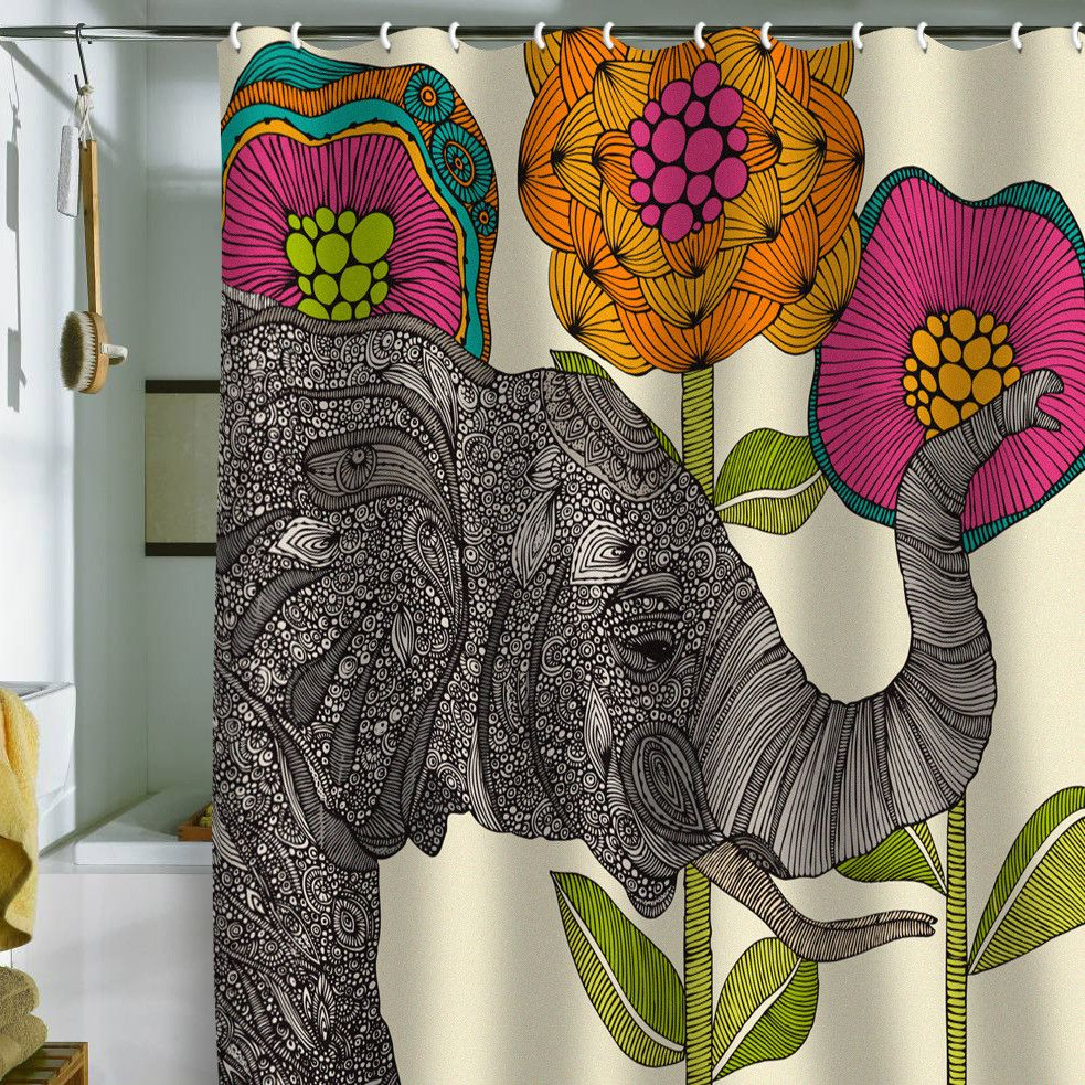 This Is Just One Of The Amzing Shower Curtain Designs On This Site Lots Of Great Art By Valentina Ramos Aa Elephant Shower Curtains Elephant Shower Sweet Home