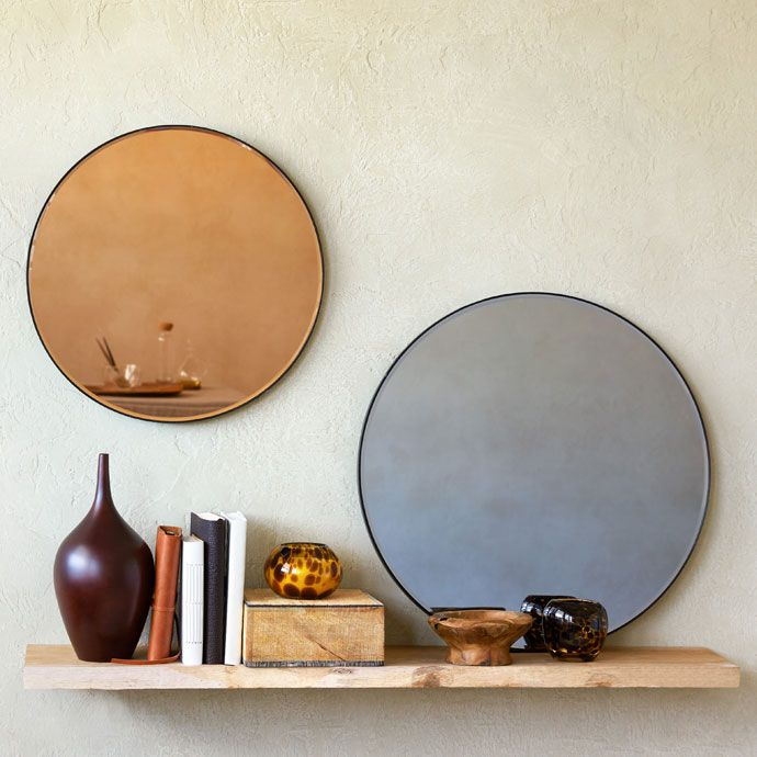 Image Of The Product Copper Toned Round Glass Mirror Zara Home
