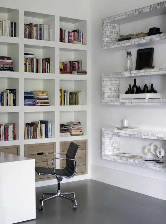 Bright, Orderly office, White furniture, White walls, Natural ...