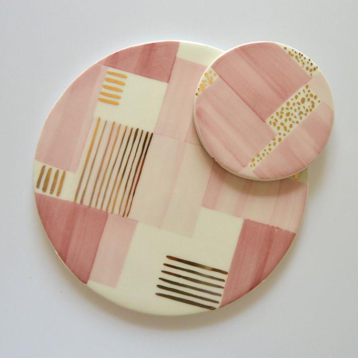 Ceramic Trivet | Aura Pink Stripe #ceramiccafe