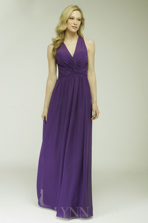 Cadbury Purple A Line V Neck Chiffon Long Bridesmaid Dress ...