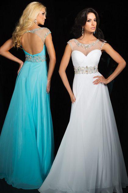 In Stock 2014 New Arrival Prom Dresses Scoop Floor-length Chiffon Open Back White Elegant Ball Dresses Cheap Under 100 $94.00