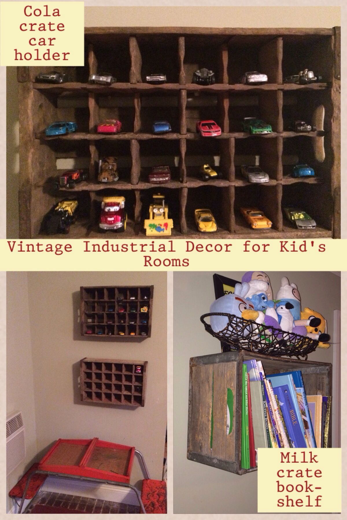 Double cola, Pepsi, and milk crates as storage for our boys' things in our vintage industrial room. Pinterest inspired