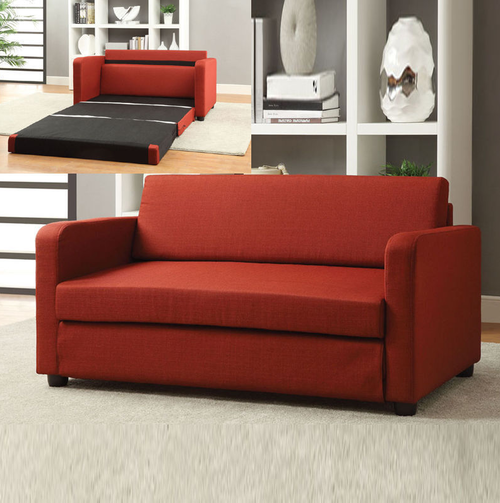 Acme Furniture Conall Red Fold Out Sleeper Sofa