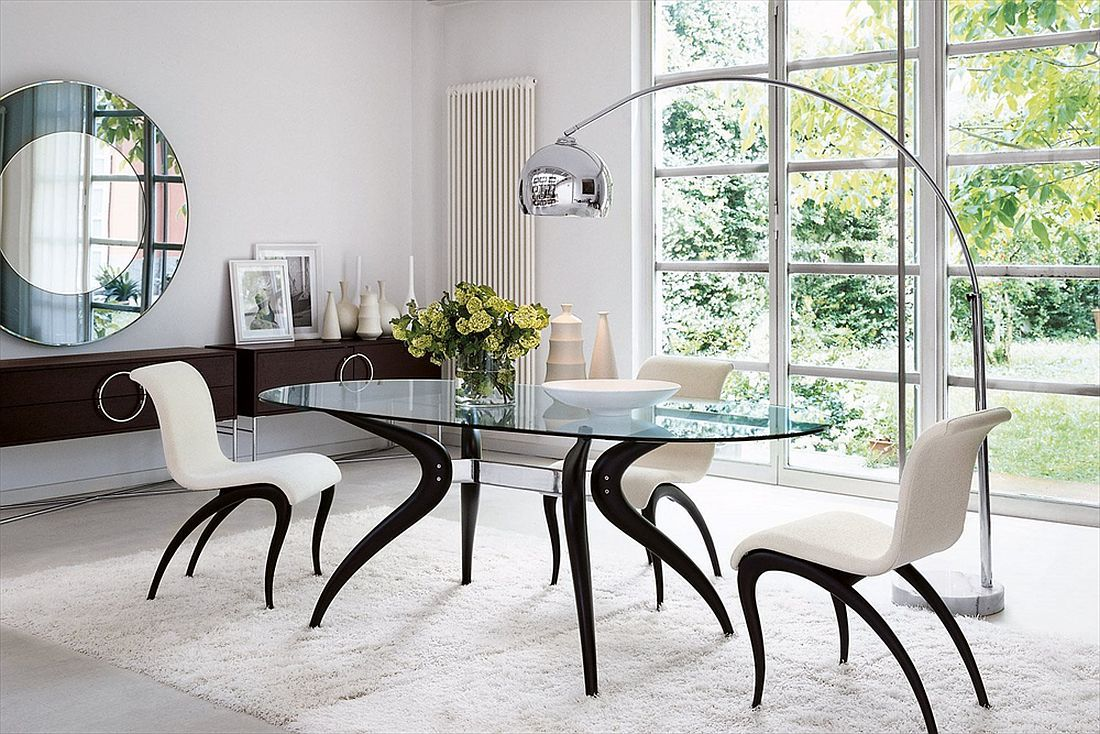 Dashing Duo Trendy New Dining Tables Usher In Geometric Contrast Modern Dining Room Oval Dining Room Table Dining Table Marble