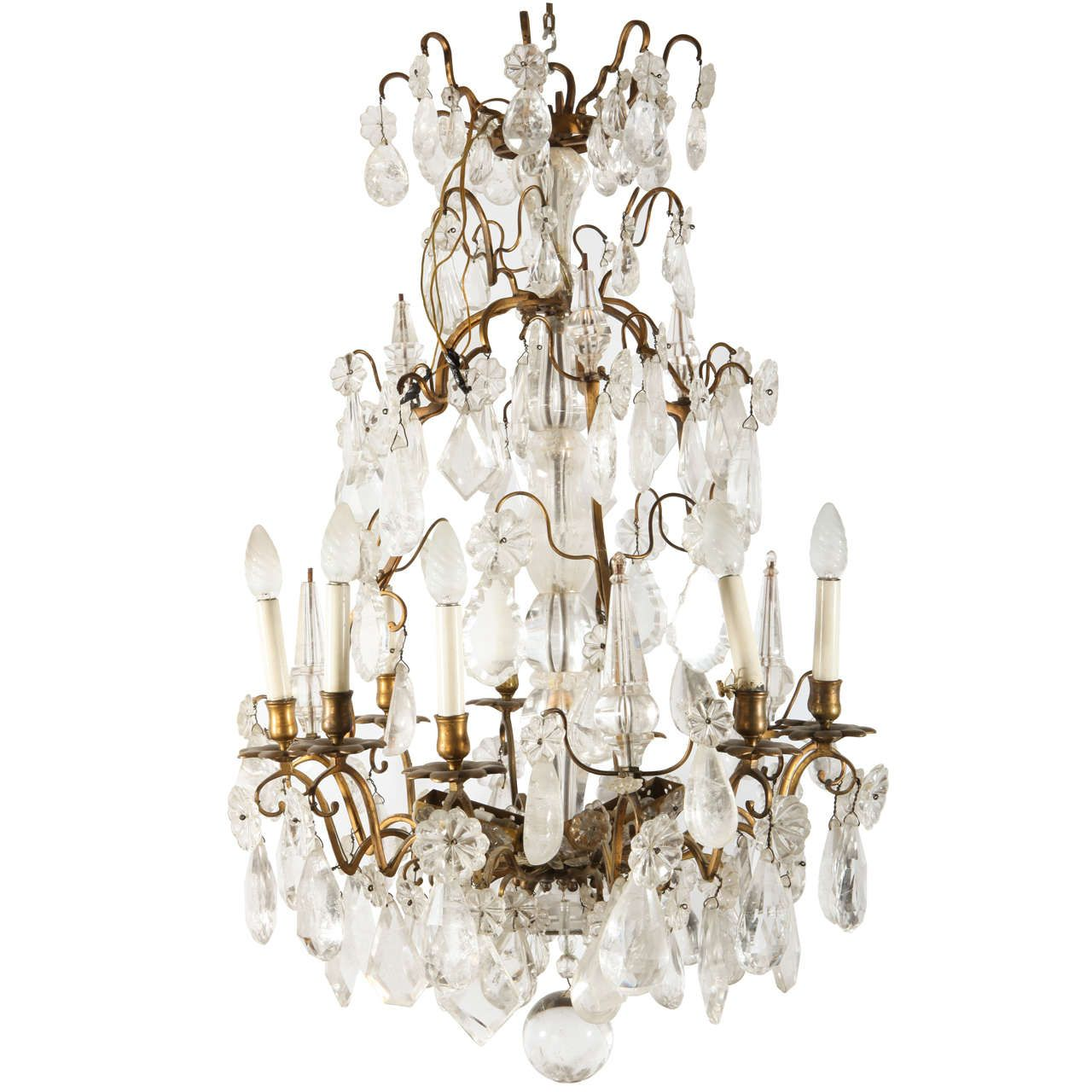 A louis xv period gilded bronze rock crystal chandelier a louis xv period gilded bronze rock crystal chandelier aloadofball Gallery