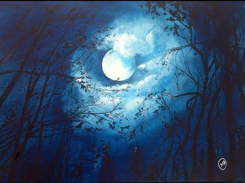 Watercolor Moonlight Painting Demonstration Youtube Moonlight Painting Painting Demonstration Watercolor Night Sky