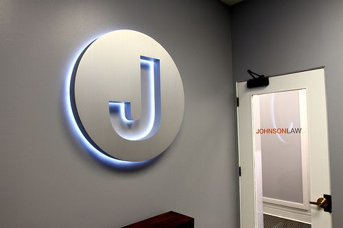 Law office Signboard - Johnson Law Corporate Lobby Signage Chicago