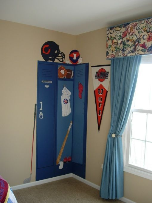 Locker mural | boys room ideas | boy room, space, kid spaces images