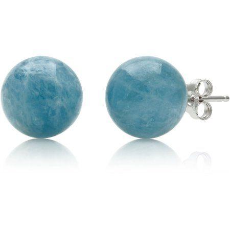 889a4c207 10mm Natural Milky Aquamarine Round Sterling Silver Gemstone Stud ...