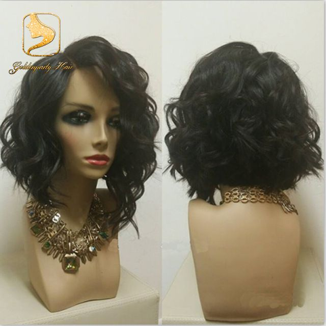 New Side Short Bob Wigs Virgin Hair Wavy Bob Lace Front Wigs With Bangs  Brazilian Full Lace Wave Human Hair Wig For Black Women 17f9ce38f654
