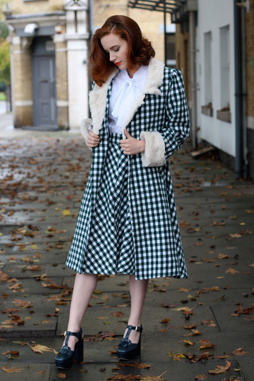 Tara Starlet 1940s 40s Style: Tara Starlet Gingham Wool Coat With