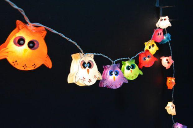 20 Lights   Mixed Owl Mulberry Paper String Lights Fairy Lights Patio Lights  Wedding Lights Decoration