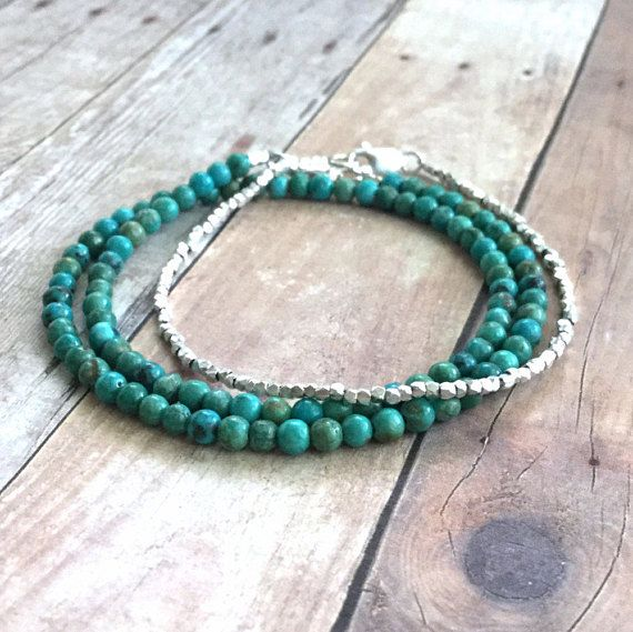 Genuine Turquoise Bracelet Small Bead Sterling Silver Jewelry Blue Green Stone Double Wrap