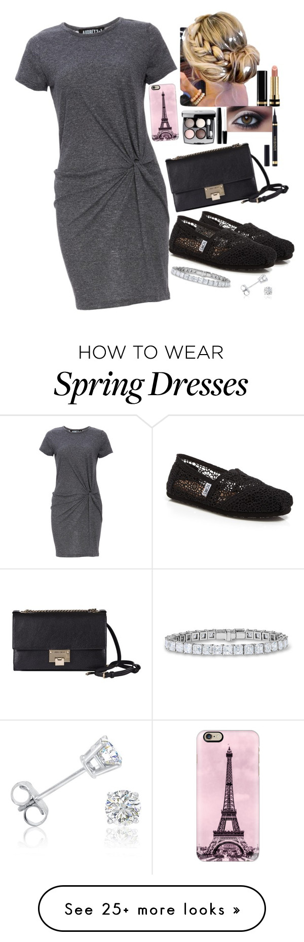 """It's A Shirtdress"" by brooklynslayer on Polyvore featuring TOMS, Audrey 3+1, Jimmy Choo, Casetify, Yves Saint Laurent, Gucci, Chanel, Amanda Rose Collection and shirtdress"