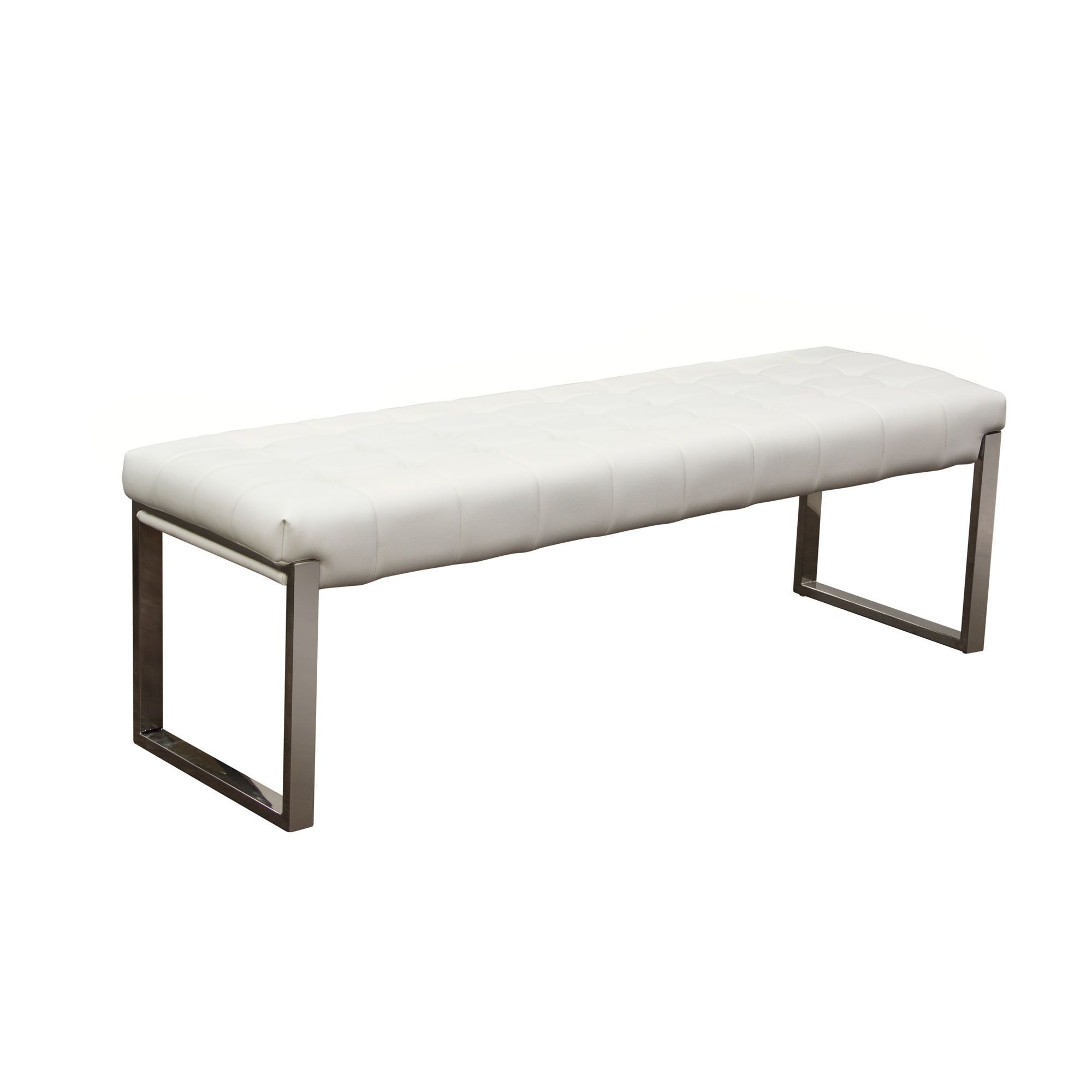 Backless Benches Indoor Part - 15: Knox Backless Tufted Bench In White Leatherette On Stainless Steel Frame