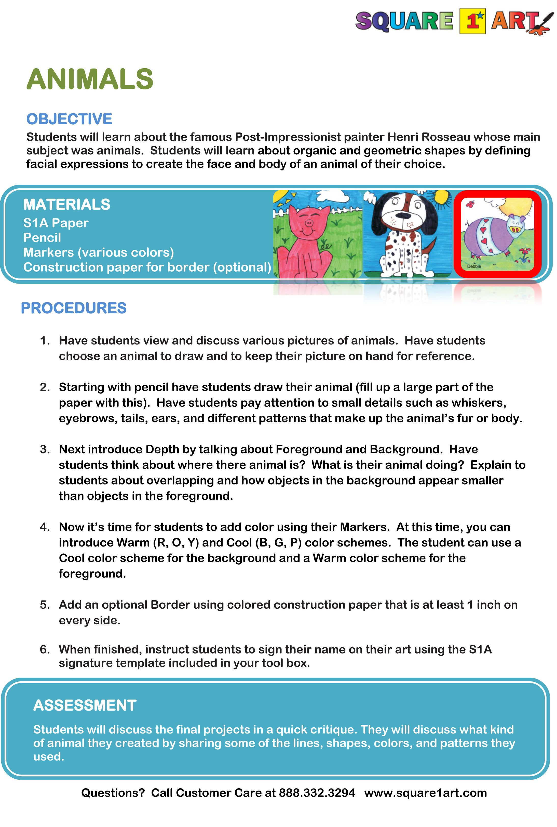 How To Draw Animals Lesson Plan Www Square1art Com Collaborative Art Projects For Kids Collaborative Art Projects Art Education Lessons