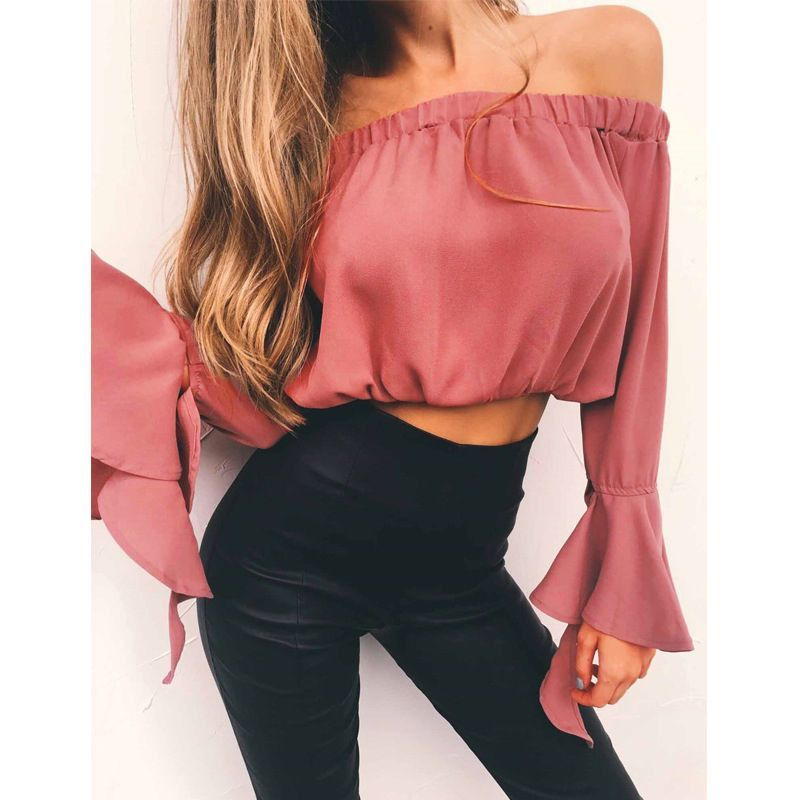 New Womens Summer Long Sleeve Shirt Loose Solid Off Shoulder Casual Blouse Tops