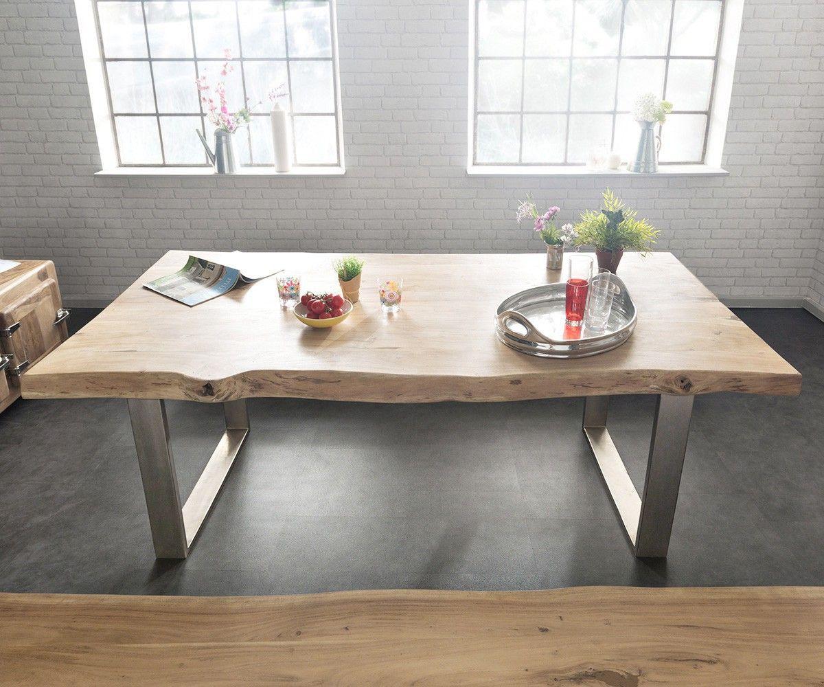 baumtisch live edge 300x100 akazie gebleicht platte 5 5cm. Black Bedroom Furniture Sets. Home Design Ideas
