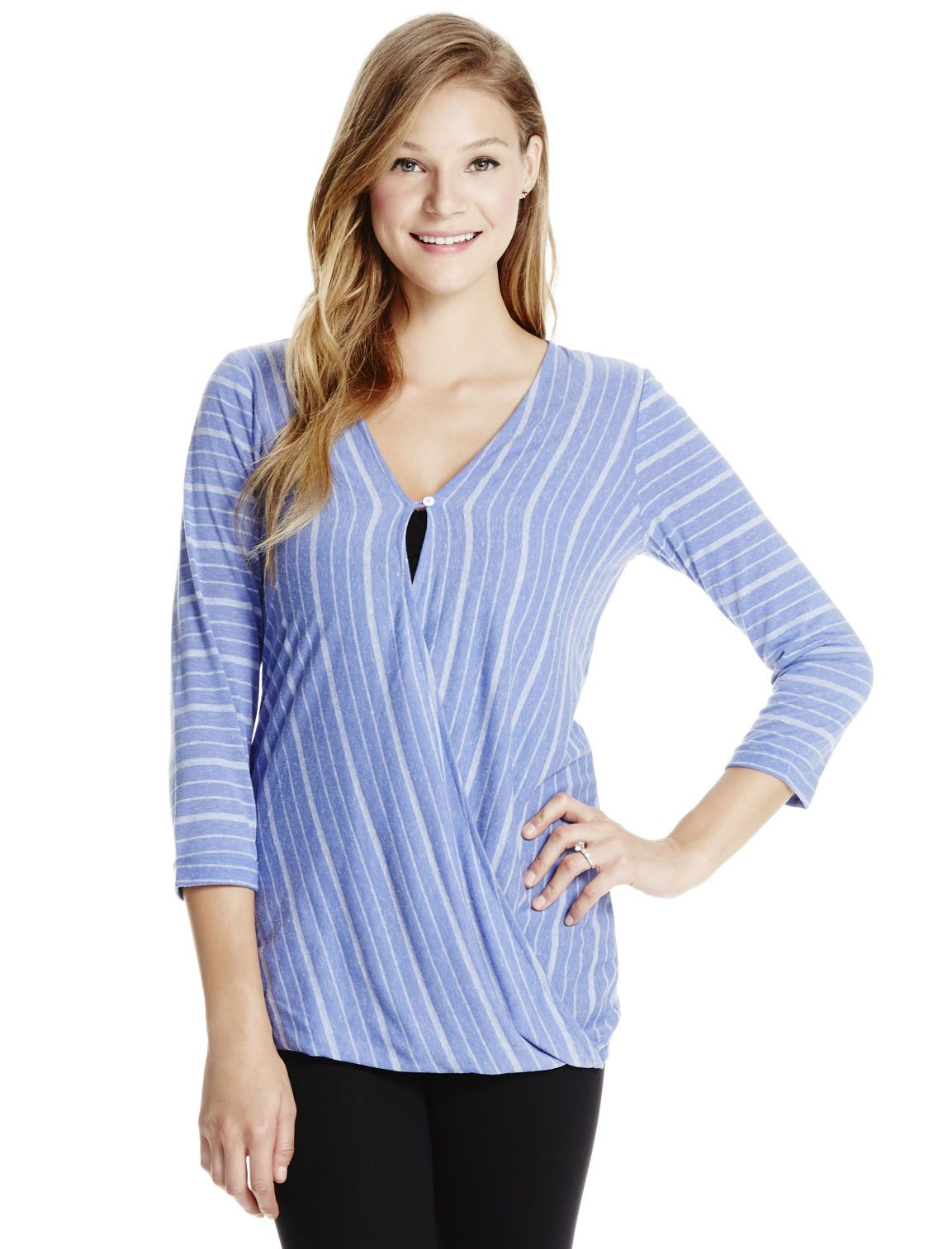 43722b1388377 Periwinkle stripes | 3/4 sleeve pull over wrap nursing top by Jessica  Simpson available at Destination Maternity