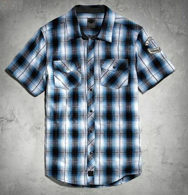 harley-davidson® men's snap-front plaid shirt black label slim fit