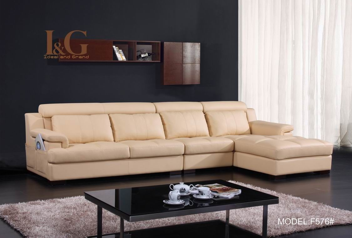 Modern Beige Leather L Shaped Sofa With Solid Wood Frame Use J K To Navigate To Previous And Next Images Contemporary Leather Sofa Leather Sofa Bed Leather Sofa