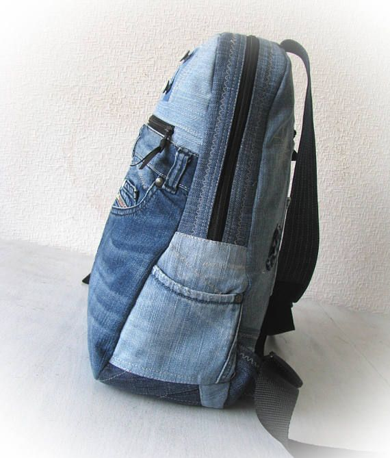 unisex denim hipster backpack school supplies recycled