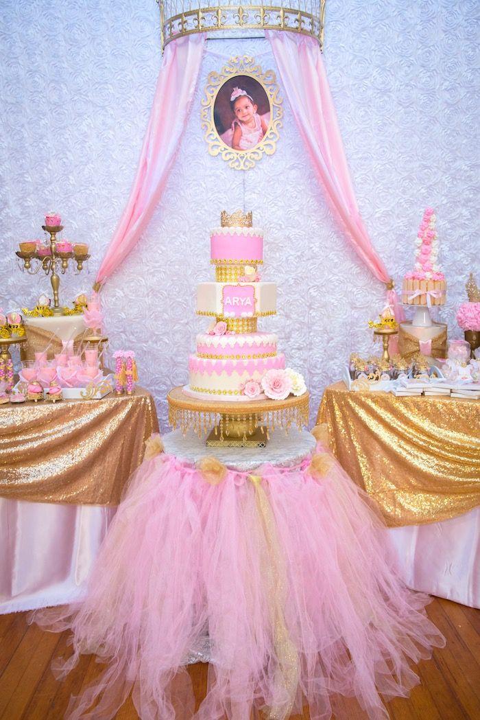 Gold Pink Royal Princess Birthday Party Girl Birthday
