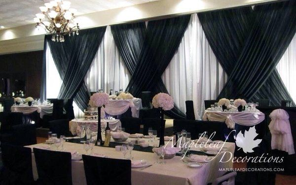 Black And White Modern Theme Backdrop Head Table Cake Design