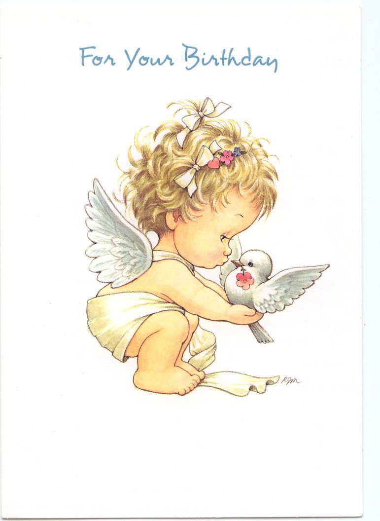 For Your Birthday Greeting Card With Images Angel Cartoon