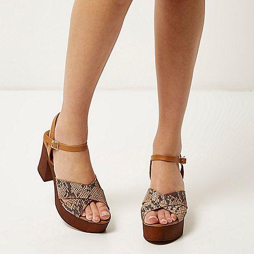 Brown snake print platform sandals