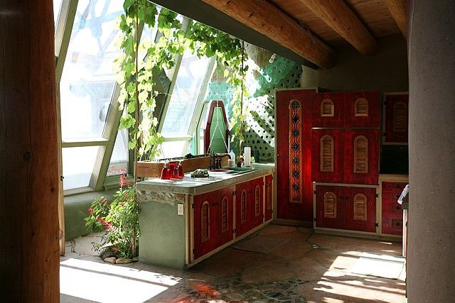 Phoenix Earthship kitchen with grape vines by Earthship Kirsten, via Flickr
