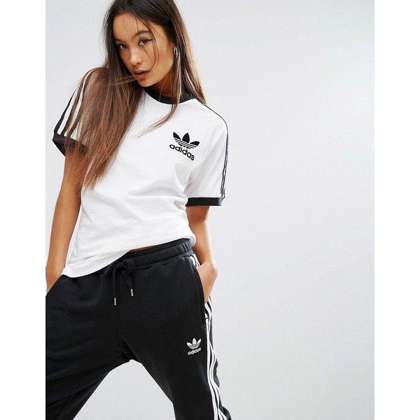 adidas Originals White Three Stripe T-Shirt (€26) ❤ liked ...