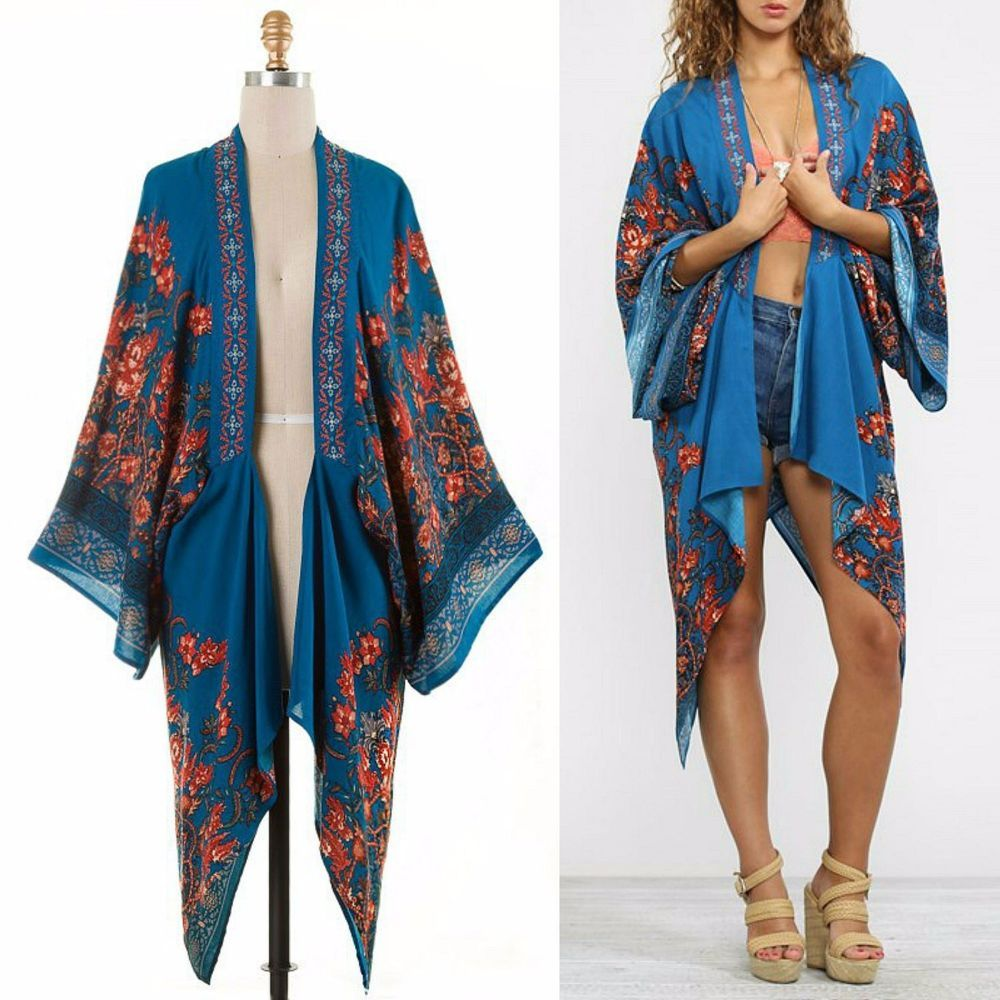 FLYING TOMATO Boho Hippie Floral Embroidered 70's Printed ...