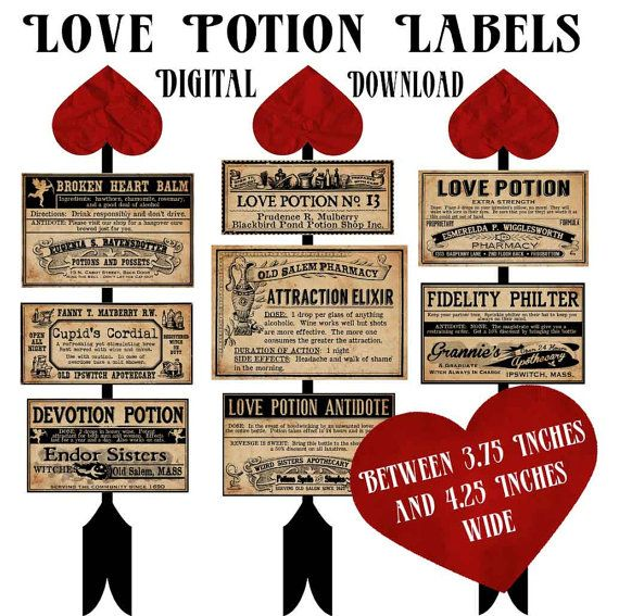 Love Potion Drink Labels: Love Potion Witch Valentines Day Labels Digital Download