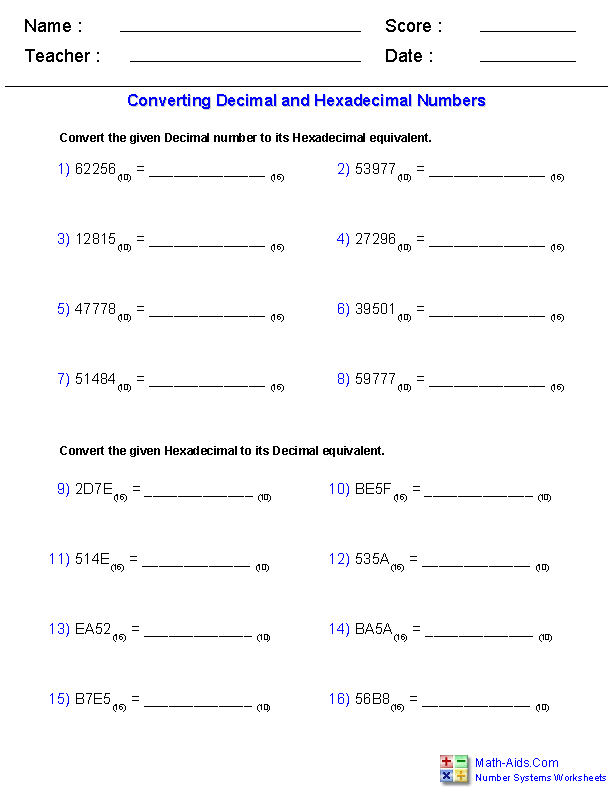 Decimal and Hexadecimal Worksheets | Worksheets, Decimals ...