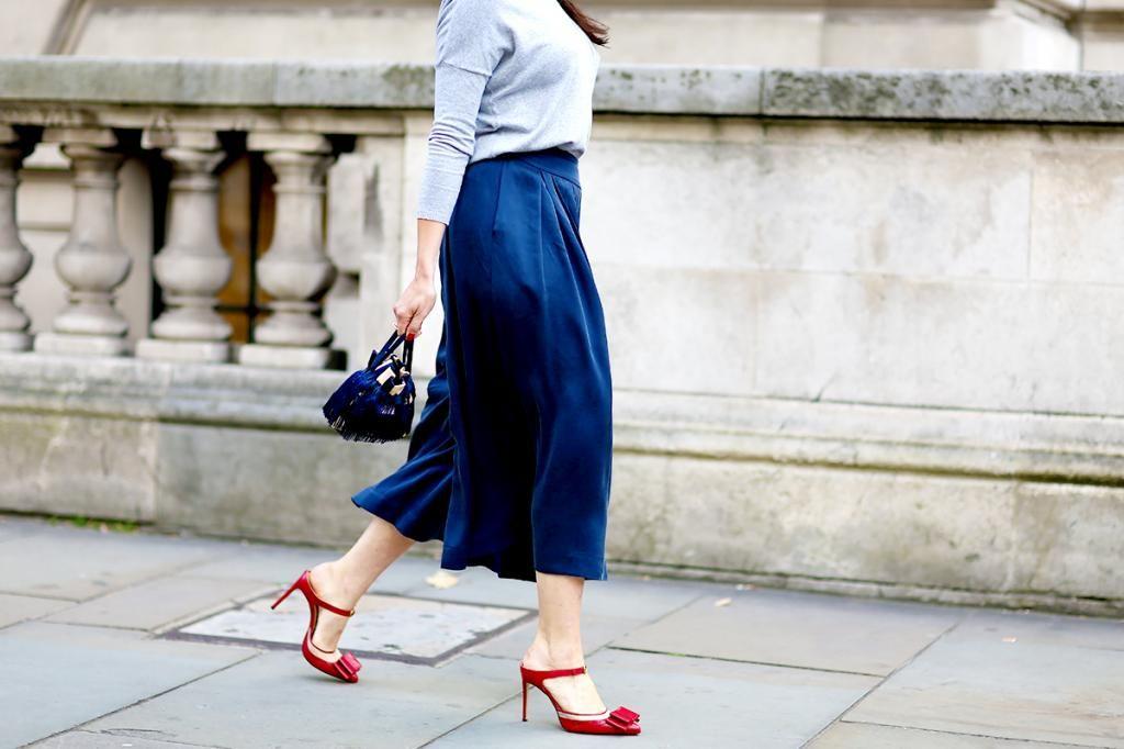 Blue Street Style #fashion #blue #skirt #redshoes #streetstyle #style
