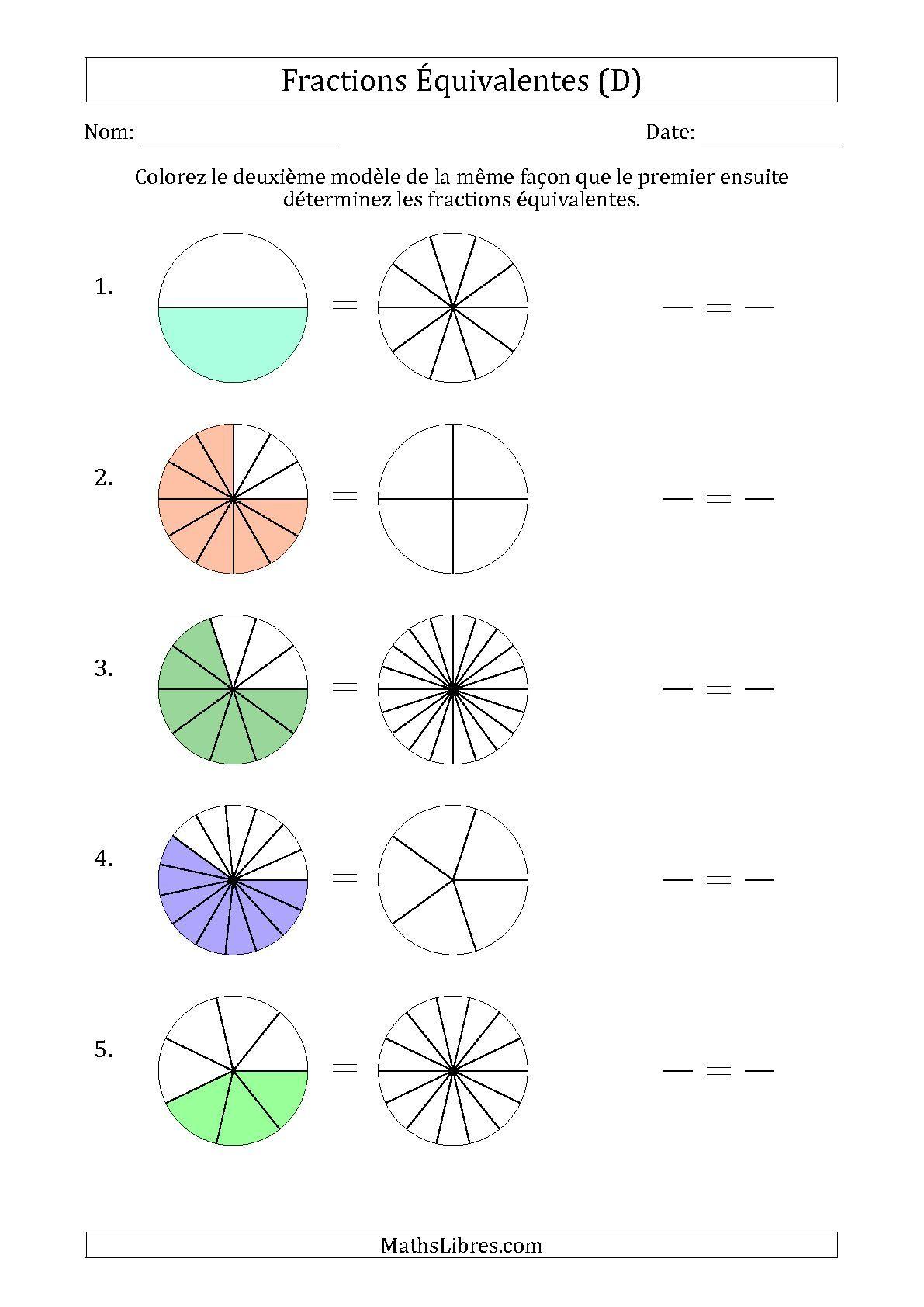 La fiche d 39 exercices de maths fractions quivalentes l - Fraction cm1 a imprimer ...