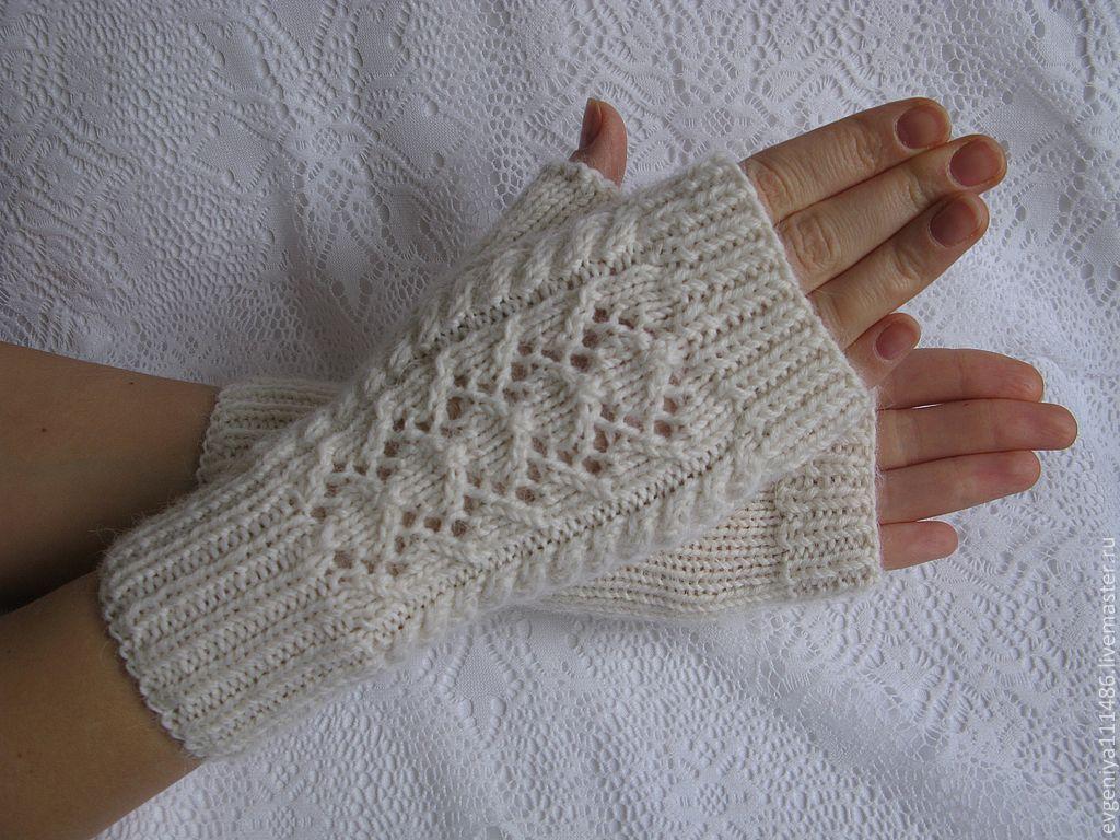 Купить Митенки Ажурная дорожка, купить вязаные митенки - варежки вязаные, варежки, митенки женские #gloves