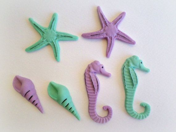 Mermaid Party Fondant Edible Cake Cupcake Toppers by LenasCakes