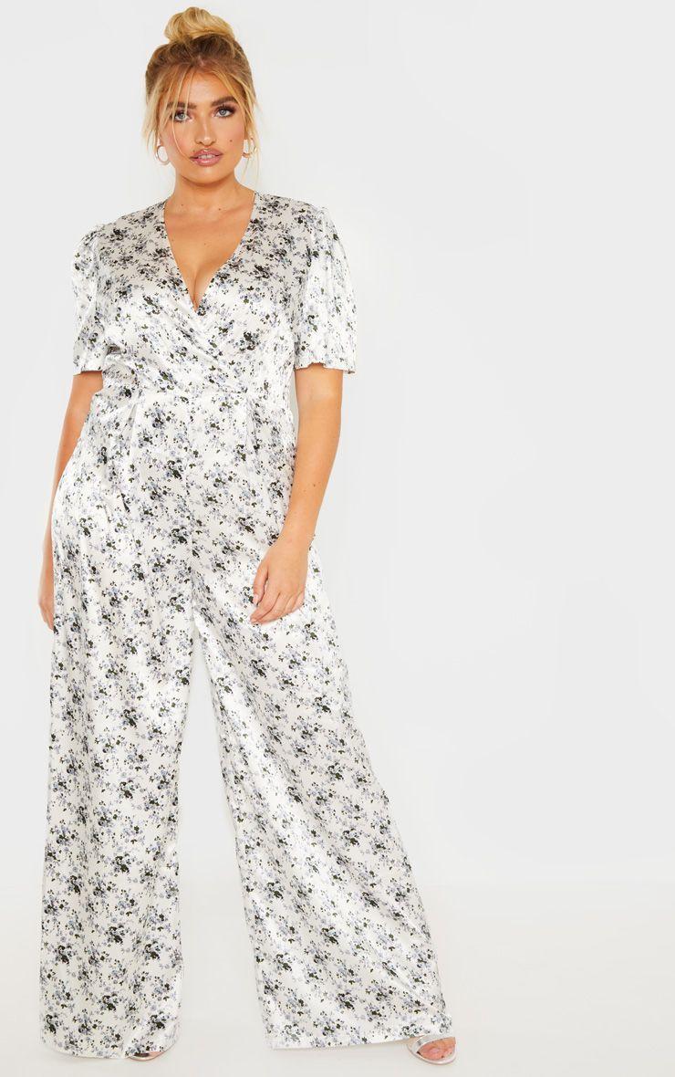 7c8c8caeffa Plus White Floral Print Woven Wrap Wide Leg Jumpsuit in 2019 ...