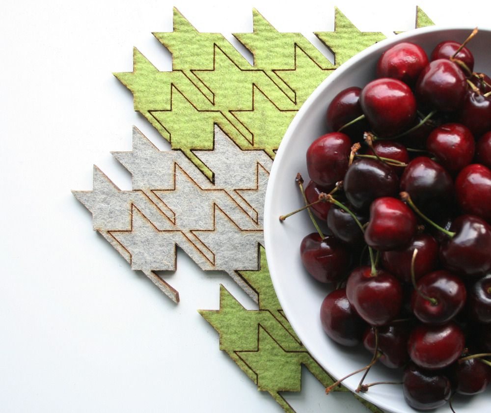 eco-friendly houndstooth table tiles - green - masters of none