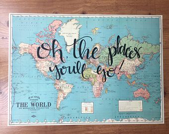 Custom hand lettered world map travel quote map wall decor custom hand lettered world map travel quote map wall decor travel home gumiabroncs Images