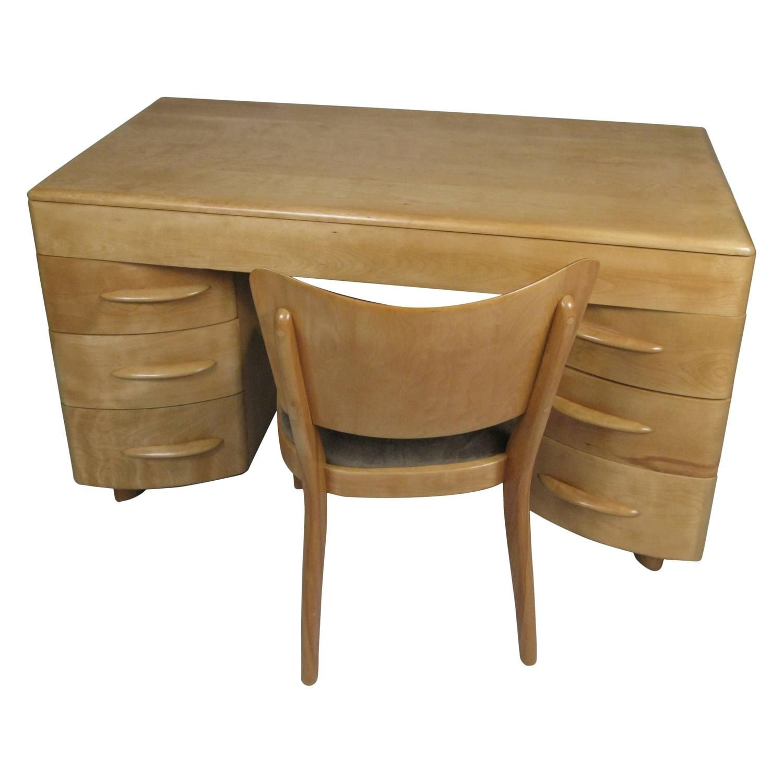 Vintage 1950s Birch Kneehole Desk
