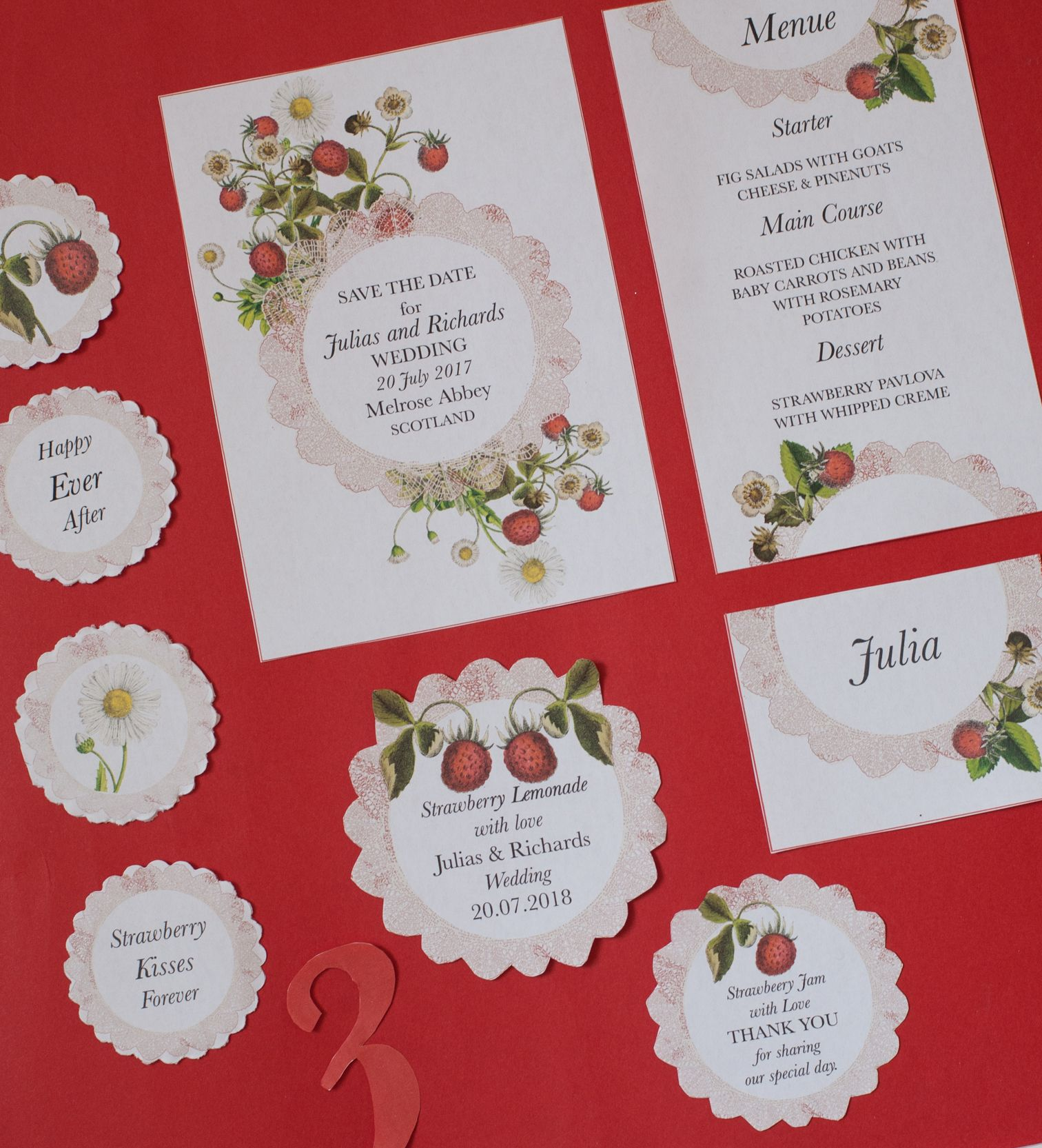 Branding for your Wedding #place card #menu card #starwberry ...