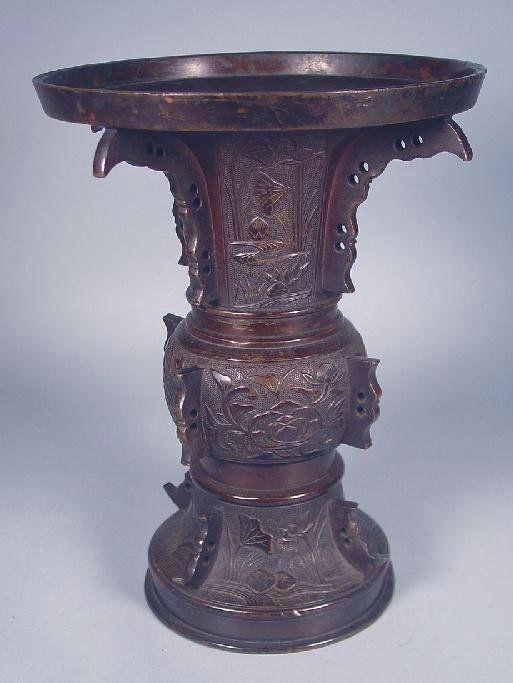 Japanese Bronze Vase in Chinese Ku/Gu Archaic Form